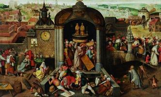 Tundmatu Madalmaade kunstnik Hieronymus Boschi (1450–1516) ja Pieter Bruegel vanema (1526/30–1569) ringist Kaubitsejate ja rahavahetajate templist väljaajamine. U 1570 Õli, puu Eesti KunstimuuseumTundmatu Madalmaade kunstnik Hieronymus Bosch