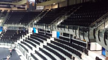 The arena has two decks for seating, and can hold 5,000 in the main arena.