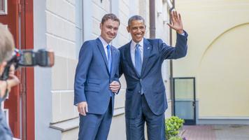 Taavi Rõivas ja Barack Obama Stenbocki maja ees