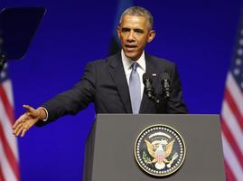 USA president Barack Obama pidamas kõnet Nordea kontserdimaja laval