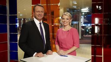 Saatejuhid Marko Reikop ja Grete Lõbu ETV Solarise stuudios. (2013)