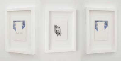 """Illusioon, moonutatud perspektiiv, tasakaalu puudumine, teine dimensioon II, 2014. Rebitud postkaardid, 10.5 x 14.8 cm, seerias 9 tööd. Näitusel """"Arheoloogiafestival – kihistusi pildist ja ruumist"""", 2014, Tartu Kunstimuuseum"""