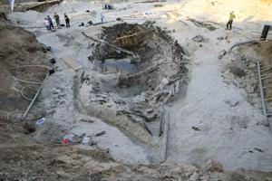 Part of the 'Pete' shipwreck being excavated.