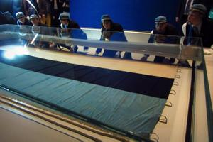 The original Estonian flag from 1884 was moved to its permanent future home at the new Estonian National Museum. Sept. 15, 2016.
