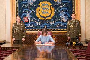 President Kersti Kaljulaid, appointing Jüri Ratas' government, Nov. 22, 2016.