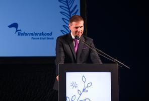 Hanno Pevkur Reformierakonna üldkogul.