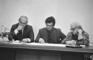 Valdo Pandi mälestusüritus: Mati Talvik, Hadi Šein, Uno Maasikas. 1989