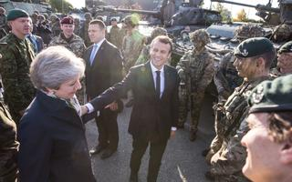 President Emmanuel Macron, former UK Prime Minister Theresa May and Estonian Prime Minister Jüri Ratas at Tapa, Estonia on September 29, 2017.