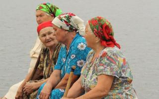 Vepsa memmed järve kaldal. Sarjarve küla, Leningradi oblast, 2010.