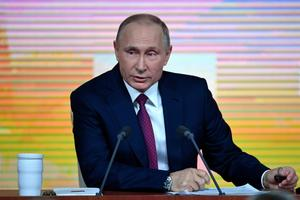 Venemaa president Vladimir Putin suurel pressikonverentsil 14. detsembril.