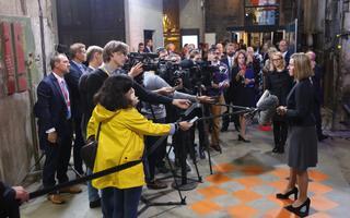ELi välisasjade ja julgeolekupoliitika kõrge esindaja Federica Mogherini annab ajakirjanikele kohtumise tervitussõnad.
