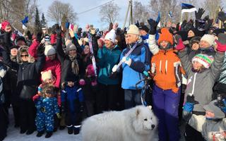 President Kersti Kaljulaid and former President Arnold Rüütel took part in the 15th President's Hike in Aegviidu on Sunday. Feb. 25, 2018.