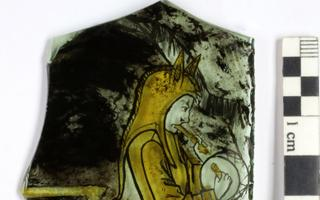 Detail of a painted glass window fragment from the Kalamaja find (c. turn of the 15th/16th centuries).