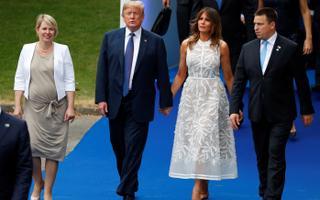 Vasakult: Karin Ratas, Donald Trump, Melania Trump ja Jüri Ratas NATO tippkohtumisel