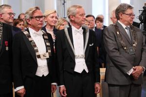 Eesti Kunstiakadeemia rektor Mart Kalm (vasakul), Tallinna Ülikooli rektor Tiit Land ja Eesti Maaülikooli rektor  Mait Klaassen.