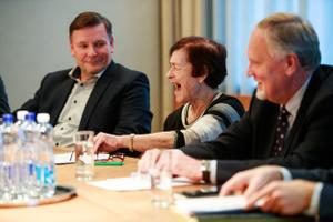 Eesti Panga nõukogu liikmed Jaanus Tamkivi, Liina Tõnisson ja Kalev Kallo.