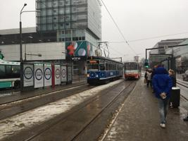 Ads that appeared at Tallinn's busy central Hobujaama tram stop early on Monday morning. 7 January 2018.