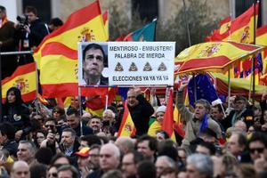 Protest peaminister Pedro Sancheze vastu.