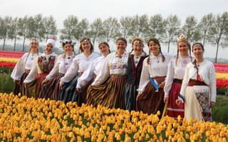 Nootdorp, Netherlands-based folk dance troupe Tuuletütred on International Dance Day. 29 April 2018.