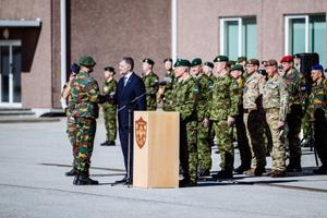 Troops of the Belgian contingent to serve in NATO Battle Group Estonia received NATO medal missions in Tapa on Thursday. 18 April 2019.