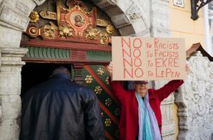 Пикет против EKRE и их гостей.
