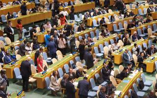 UN General Assembly vote on non-permanent Security Council membership at UN headquarters in New York, Friday, June 7.
