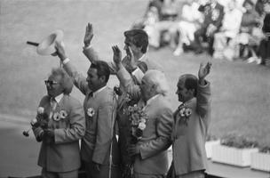 XIX üldlaulupeo koorijuhid Kuno Areng, Harald Uibo, Venno Laul, Gustav Ernesaks ja Olev Oja. 1980