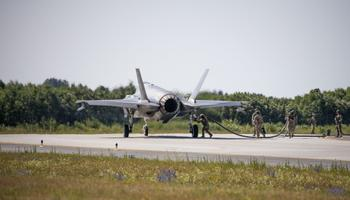 US F-35As and F-15Es practiced tactical refueling at Ämari Air Base on Thursday. July 25, 2019.