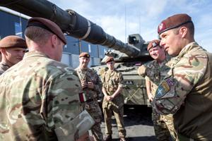 King's Royal Hussars (KRH) armored regiment personnel at Tapa. The KRH formed the kernel of the eFP through much of 2019, and have been replaced by the Queen's Royal Hussars.