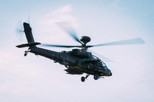 Army Air Corps AgustaWestland Apache attack helicopter at Friday's exercise.