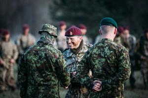 Commander of 16th Air Assault Brigade Brigadier John Clark greets Estonian Kaitseliit (Defence League) personnel at Friday's exercise.