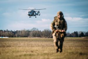 Paras from 16th Air Assault Brigade and Kaitseliit personnel on Friday's exercise, the largest ever military parachute drop exercise in Estonia.