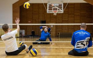 Sitting volleyball practice at a sports camp for wounded veterans in Rakvere. January 2020.