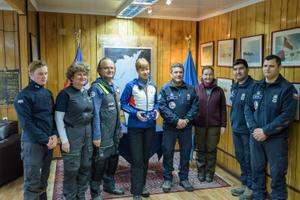 Kersti Kaljulaid visiting Russia's Admiral Bellingshausen Antarctic station.