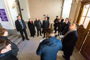 Members of the government inspect the Knighthood House at Tallinn's Tompea.