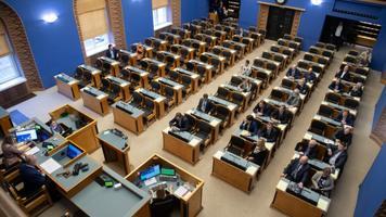 Riigikogu täiskogu saal.