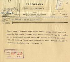 Eesti Moskva-saatkonna telegramm Tallinnasse välisministeeriumi teatab Moskva soovidest saada enda kätte suur hulk objekte saartel, kuhu paigutada Nõukogude väed.