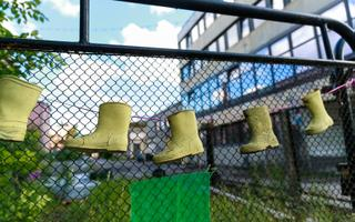 Rubber boots outside Põhjala rubber factory.