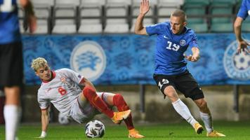 Pavel Marin jalgpalli Rahvuste liiga mängus Põhja-Makedoonia vastu