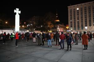Solidarity rally in Tallinn for Polish protesters on October 28.