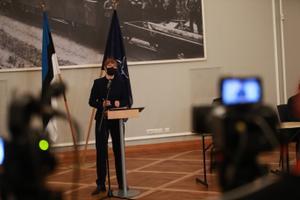 President Kersti Kaljulaid riigikaitse nõukogu järgsel pressikonverentsil.