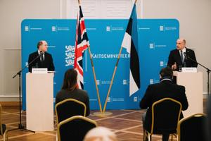 The press conference between the UK's Minister of Defense Ben Wallace and Estonian Minister of Defense Jüri Luik.