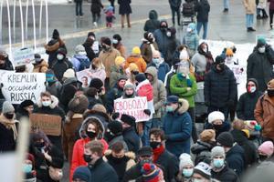 Meeleavaldus Navalnõi vabastamise toetuseks Tallinnas Vabaduse väljakul.