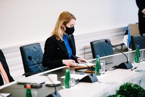 Kaja Kallas and her Reform-Center cabinet hold their first meeting at the Stenbock House, seat of the Estonian government.