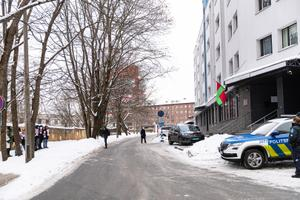 The protest outside the Belarusian Embassy in Tallinn on Friday, February 12.