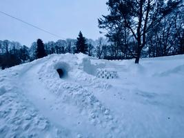 Tartu's snow city being constructed.
