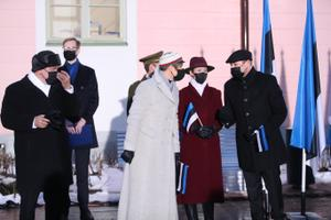 Flag-raising ceremony on Toompea on the morning of February 24 2021.