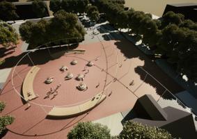Selgus Sindi keskväljaku arhitektuurivõistluse võitja. Pildil võidukavand