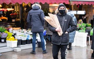 Flower sellers on International Woman's Day (March 8) by Viru Gate in Tallinn's Old Town.