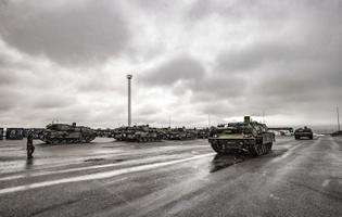 French Leclerc tanks and other equipment arriving during Wednesday's Franco-British operation in Paldiski.